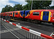 TQ1572 : View of a Class 455 train approaching Strawberry Hill station #2 by Robert Lamb