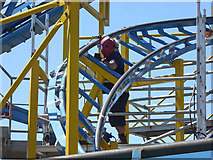 TQ3103 : Welding repairs to Turbo Coaster ride on Palace Pier by Robin Webster