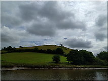 SX8158 : Hill on the east side of the river Dart, with the outline of a ruined building on the skyline by Rob Purvis