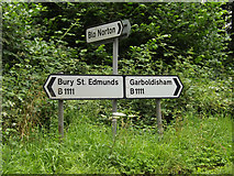 TM0080 : Roadsigns on the B1111 Common Road by Adrian Cable