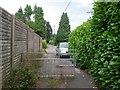 SZ0596 : West Howe: railings across footpath U14 by Chris Downer