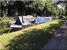 TQ2282 : Zhodino, narrowboat on Paddington Branch canal by David Hawgood
