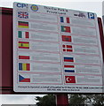 SN5707 : Fourteen National Flags depicted on a CP Plus notice in Pont Abraham Services by Jaggery