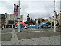 SE2934 : Leeds Skyride 2016 - setting up by Stephen Craven