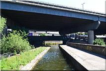 SP0990 : River Tame Aqueduct and M6 motorway bridge by David Martin