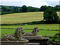 H4575 : Lion sculptures, Mountjoy Forest East Division by Kenneth  Allen