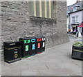 SO0428 : Five bins in Brecon town centre by Jaggery