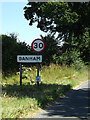 TM0587 : Banham Village Name sign on Kenninghall Road by Adrian Cable