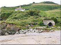 SX9253 : The old lime kiln by Man Sands Beach by Derek Voller