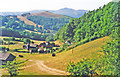 SJ2141 : Westward up Dee Valley to Llantisilio Mountains (Moel Morfydd, 1,801 ft.)  from just south of Llangollen, 1995 by Ben Brooksbank