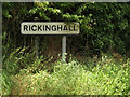 TM0474 : Rickinghall Village Name sign on the B1113 Finningham Road by Adrian Cable