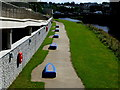 H4572 : Line of blue concrete boats, Omagh by Kenneth  Allen