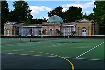 SP6737 : Stowe School Tennis Courts and Shop by Ian Rob