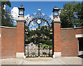 TQ2579 : Refurbished gilded iron gates, Holland Park by David Hawgood