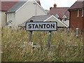 TL9773 : Stanton Village Name sign on Hepworth Road by Adrian Cable