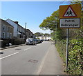 SS7798 : Warning sign - Patrol/Hebryngwr, Henfaes Road, Tonna by Jaggery