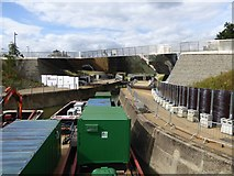 TQ3784 : Construction work on River Lea and its path by David Smith