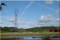 NZ4719 : Power line tower by Richard Webb