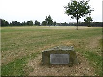 TQ4387 : Commemorative plaque, Valentines Park by David Smith