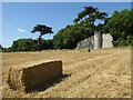SO8646 : Straw bale and Pirton Castle by Philip Halling