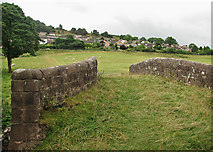SK3056 : Canal bridge, sheep pasture and houses on the edge of Cromford by John Sutton