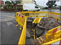 ST3090 : Exposed underground gas mains on a Malpas corner, Newport by Jaggery