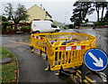 ST3090 : Yellow temporary barriers on a Malpas corner, Newport by Jaggery