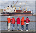 J3575 : Five red shipspotters, Belfast by Rossographer