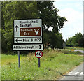 TM0890 : Roadsign on the B1113 Castle Hill Road by Adrian Cable