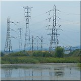 ST3283 : A variety of pylons, Uskmouth, Newport by Robin Drayton