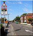 SU4313 : Warning sign - level crossing,  Adelaide Road, St Denys, Southampton by Jaggery