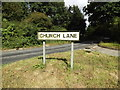 TM0669 : Church Lane sign by Adrian Cable