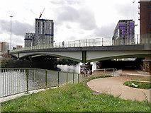SJ8297 : River Irwell, Trinity Way Footbridge by David Dixon