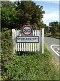 TL9568 : Stowlangtoft Village Name sign on The Street by Geographer