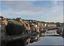 NZ2742 : Durham: morning sunlight on the Wear by John Sutton