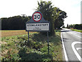 TL9568 : Stowlangtoft Village Name sign on the A1088 Stow Lane by Adrian Cable