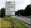 ST2885 : Directions sign facing northbound traffic on the A48, Coedkernew by Jaggery