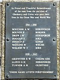 SO2355 : Names on Gladestry and Colva war memorial by Philip Halling