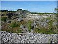 SK2854 : Earth and rock barrier, alongside public footpath by Christine Johnstone