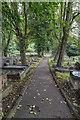 SO9590 : Path through the churchyard by David P Howard