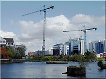 SJ8196 : Tower cranes at Exchange Quays by Steve  Fareham