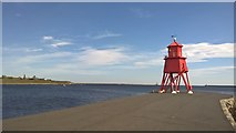 NZ3668 : South Groyne and inner harbour light, South Shields by Chris Morgan