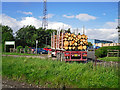 NY3759 : Timber lorry arriving at BSW sawmill by Rose and Trev Clough