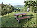 SO2577 : Picnic table overlooking the Teme valley at Llanfair Waterdine by Jeremy Bolwell