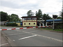 SO6302 : Level crossing and signal box by Jonathan Thacker