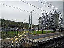 SE2436 : Steel framed structure at Kirkstall Forge railway station by Steve  Fareham