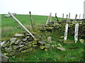SE0719 : Stile and fallen signpost on Elland FP59, Stainland by Humphrey Bolton