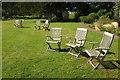 SX8257 : Garden chairs at Sharpham by Derek Harper