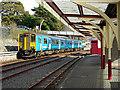 SH7045 : A train for Llandudno stands in Blaenau Ffestiniog Station  by John Lucas