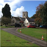 SP7433 : Thornborough church and village hall by Dave Thompson